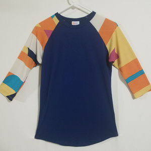Lularoe Womens XS Navy Blue Multicolor Top Shirt